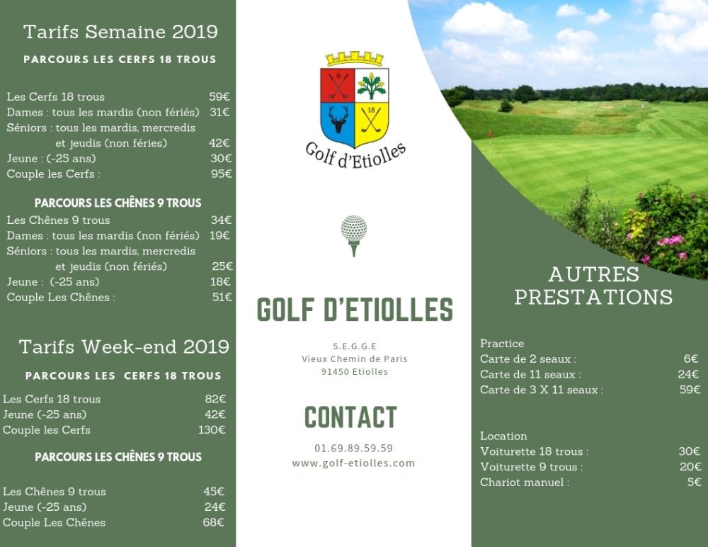 Tarifs Golf 2019